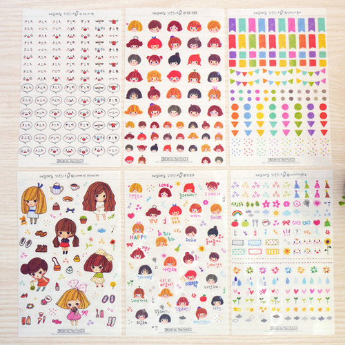 Everyday boy and girl deco sticker set