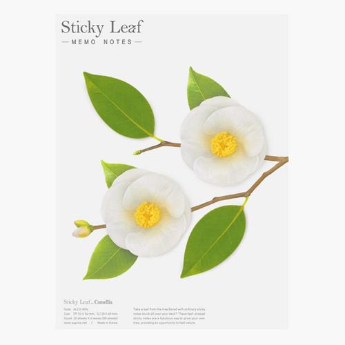 Camellia leaf white sticky memo notes Large
