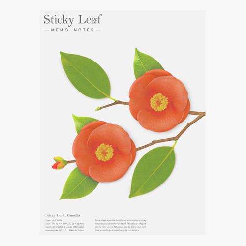 Camellia leaf red sticky memo notes Large