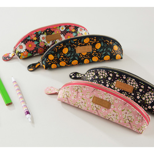 Flower pattern half moon zipper pencil case