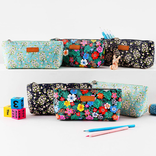 Flower pattern soft zipper pencil case
