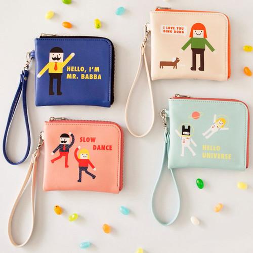 Hello half zip around wallet