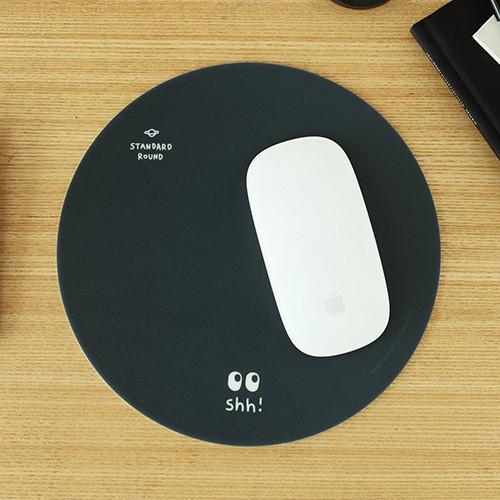 Black hush pattern standard round mouse pad