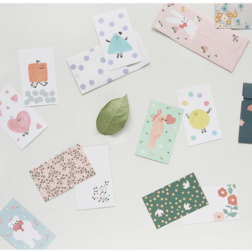 Cute illustration message card set