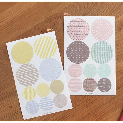Pattern round deco sticker set