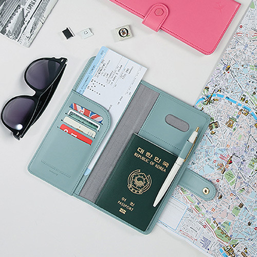 Pistachio blue - Travel RFID blocking long passport case