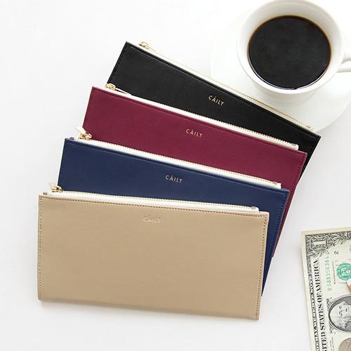 Caily flat long zipper wallet