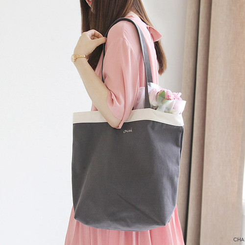 Charcoal - Around'D line shoulder bag tote