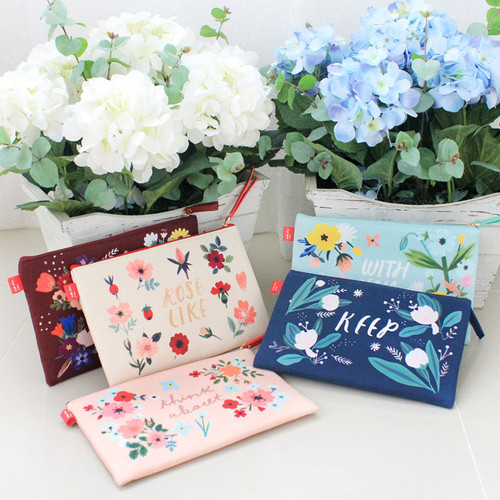 Rim pattern cotton slim zipper pouch (Large)