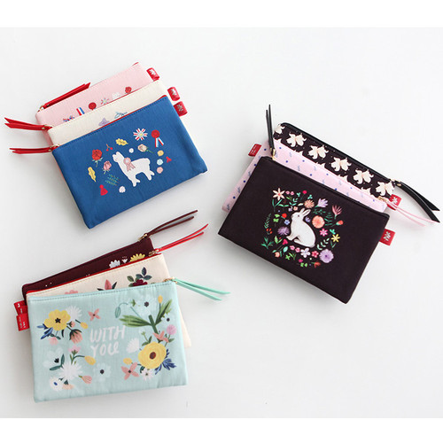 Rim pattern cotton slim zipper pouch