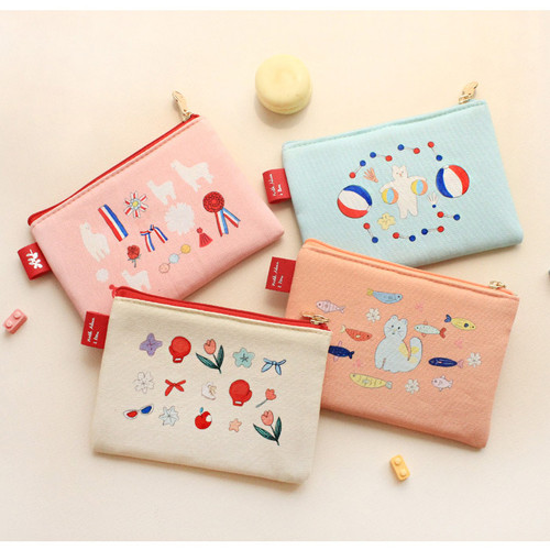 Rim pattern cotton slim zipper pouch (Small)