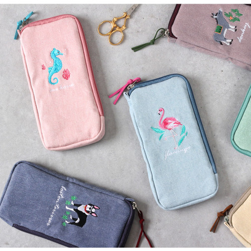Tailorbird half zip around pastel slim multi pouch