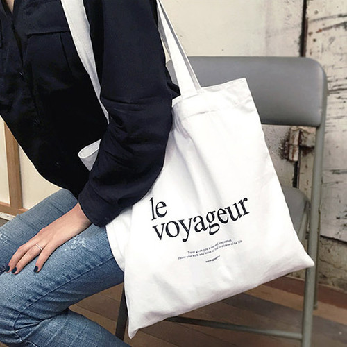 Le voyageur white cotton shoulder tote bag