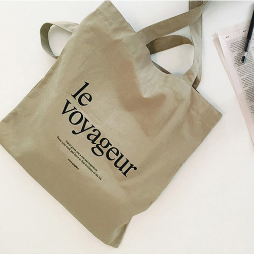 Le voyageur beige cotton shoulder tote bag