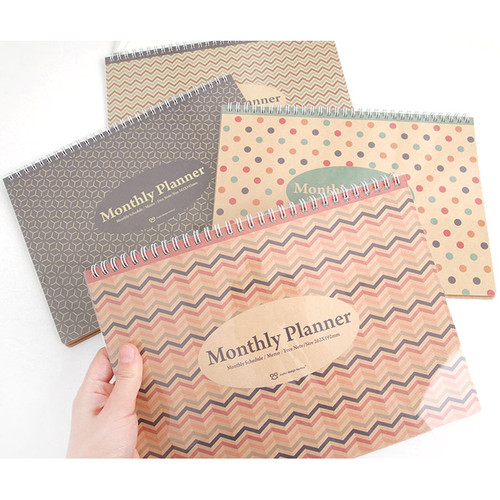 Wirebound Kraft undated monthly desk planner