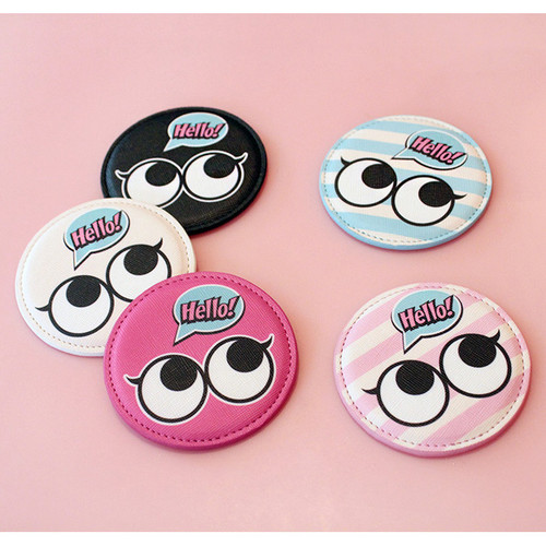 Hello cute illustration round hand mirror