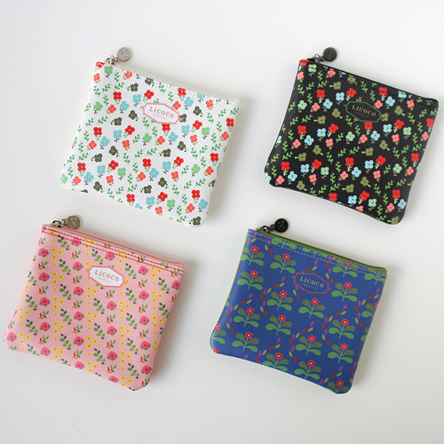 Licoco flower pattern small zipper pouch