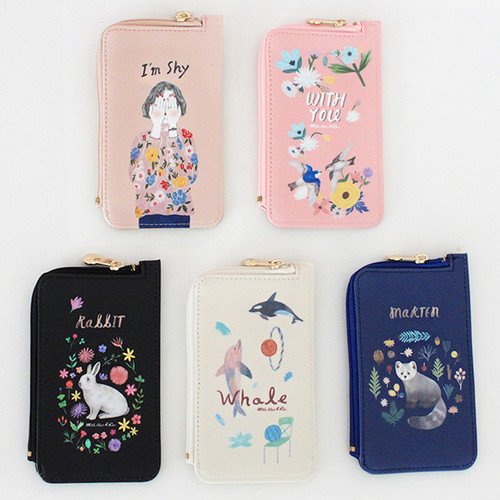 Rim pattern coner zipper card case