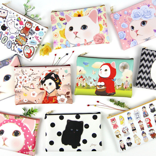Choo Choo cat slim zipper pouch