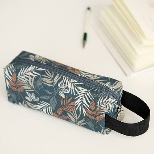 Brown leaf - Pattern canvas pencil case with strap