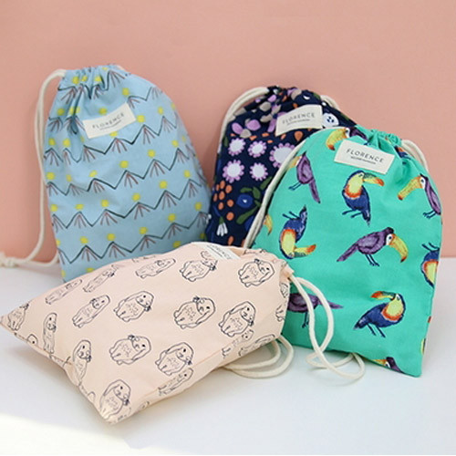 Florence pattern medium drawstring pouch