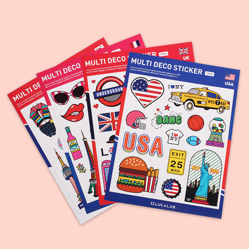 Travel multi deco paper sticker
