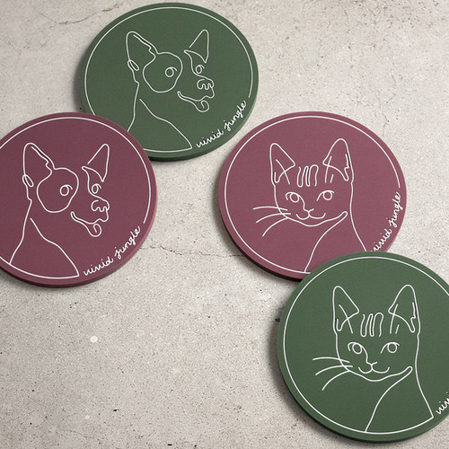 Vivid drawing puppy and cat PVC coaster