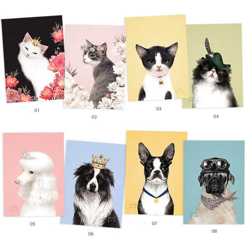 Vivid cat and puppy illustration postcard - A