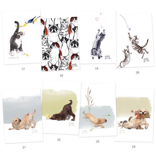 Vivid cat and puppy illustration postcard - C