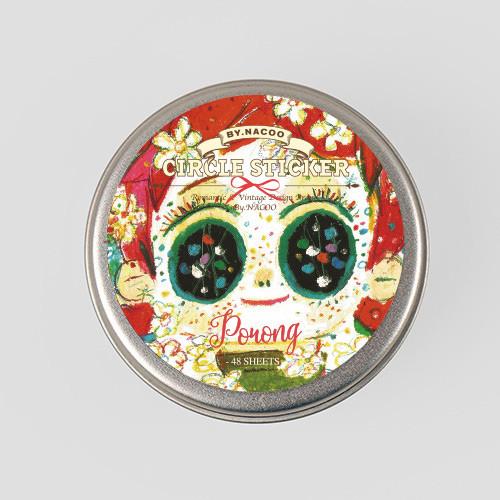 Porong circle sticker set with tin case