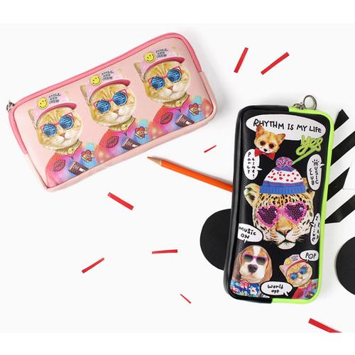 Fashionable animal square zipper pen case