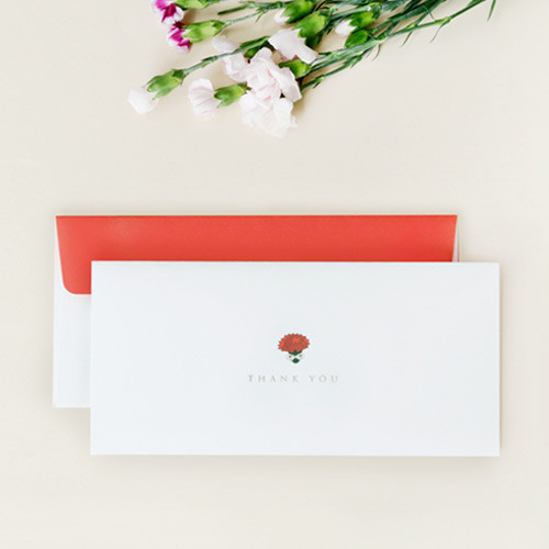 Carnation thank you envelope set