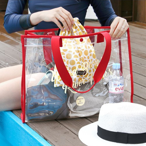 Red - Wind blows river flous clear beach bag