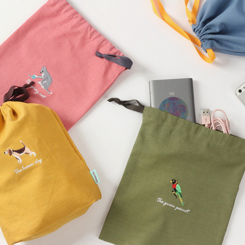Tailorbird animal medium drawstring pouch