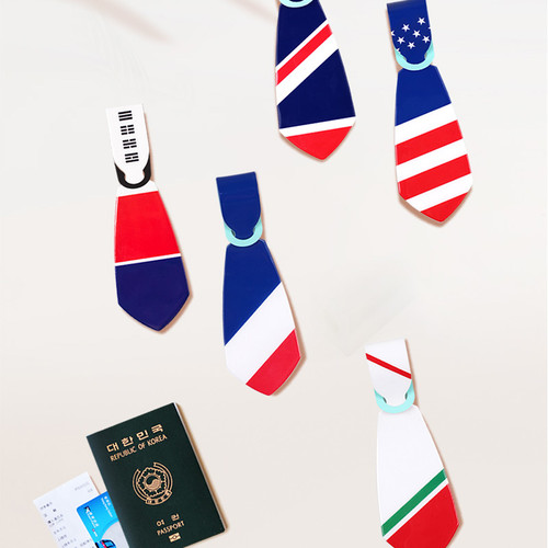 Flag tie travel luggage name tag