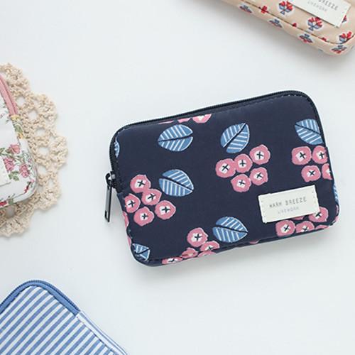 Warm breeze pattern zipper card case