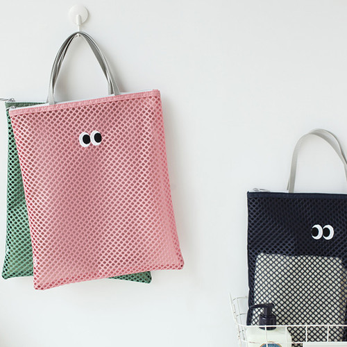 Som Som stitch square mesh zipper tote bag