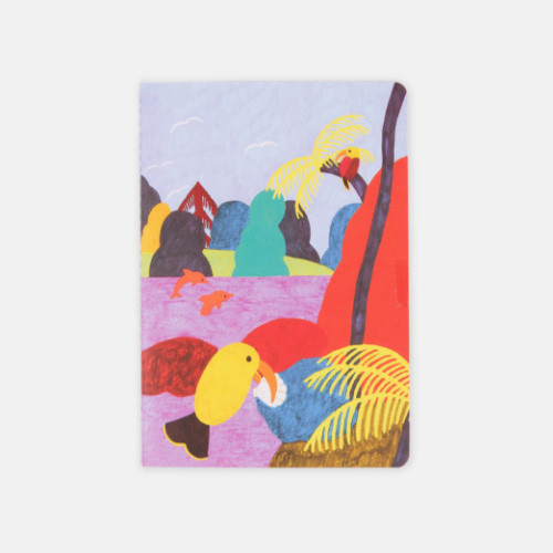 Bird Kiss sewn bound small plain notebook