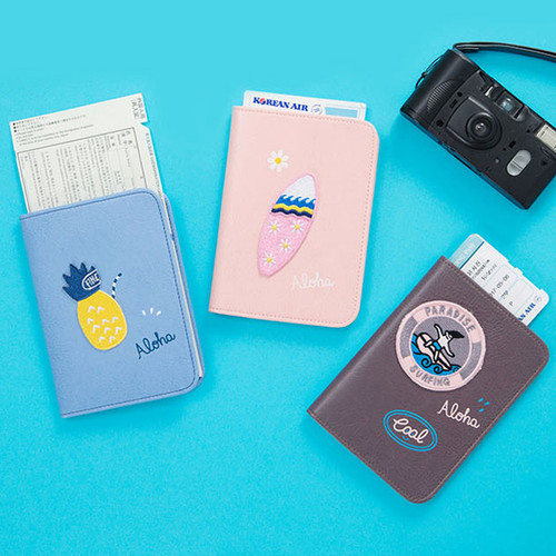 Tropical travel passport holder case