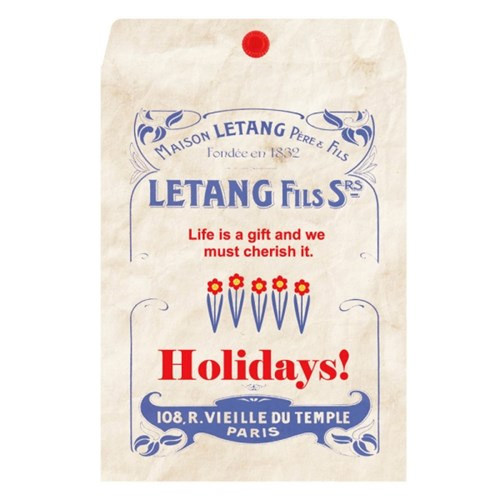 Vintage blue holiday gift bag envelope