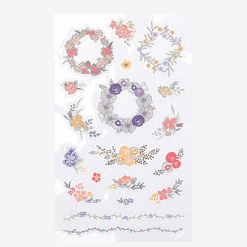 Daily transparent sticker - Flower wreath