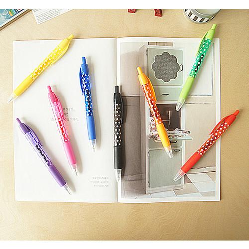 Dot pattern knock retractable black gel pen 0.5mm