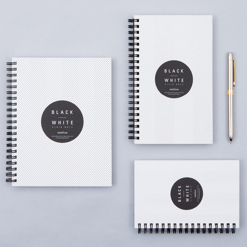 Black White spiral plain notebook - White