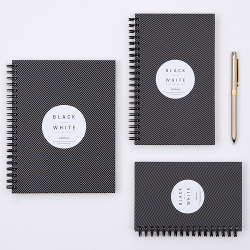Black White spiral plain notebook - Black