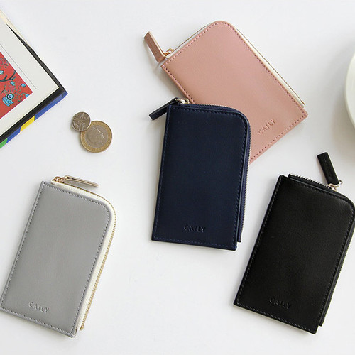 Caily half zip around card case holder