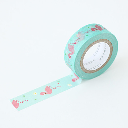 "Piyo flamingo 0.59""X11yd single deco masking tape"