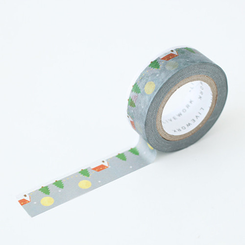 "Piyo snow day 0.59""X11yd single deco masking tape"