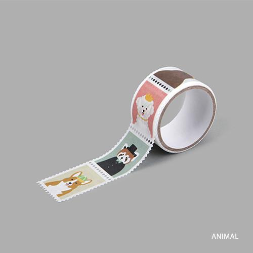 Animal deco single stamp masking tape