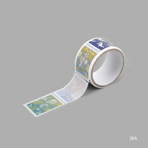 Sea deco single stamp masking tape