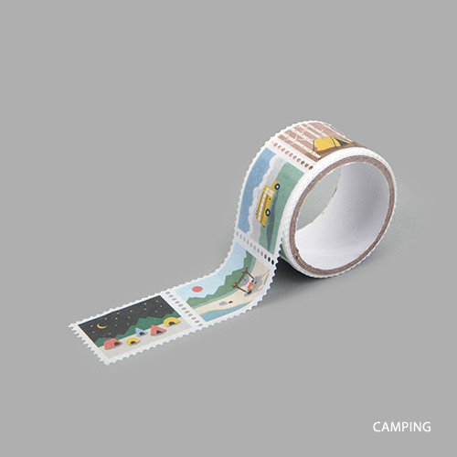 Camping deco single stamp masking tape